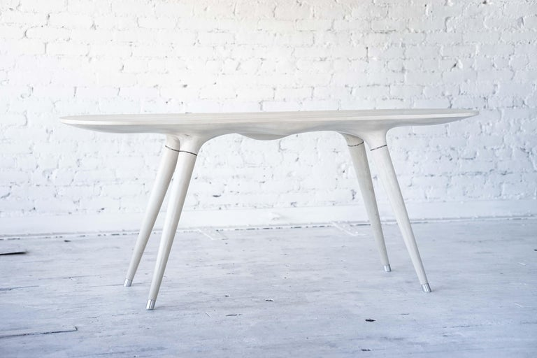 Contemporary Console Table in Carved Bleached Maple with Brass Accents For Sale 1
