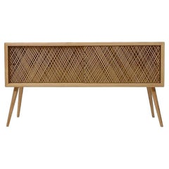 Contemporary Console Table in Natural Straw Weave Inlay