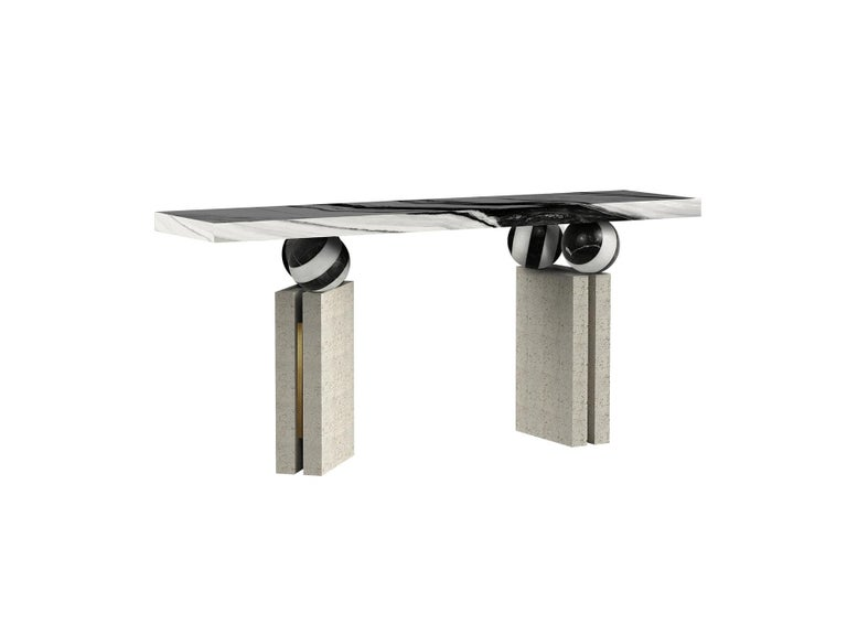 Modern Brutalist Console Table Black & White Marble Top, Travertine Stone   Quantic console table Quantic console table is an enigmatic piece. A futuristic console table that defies the laws of physics and impresses with its aesthetic balance. A