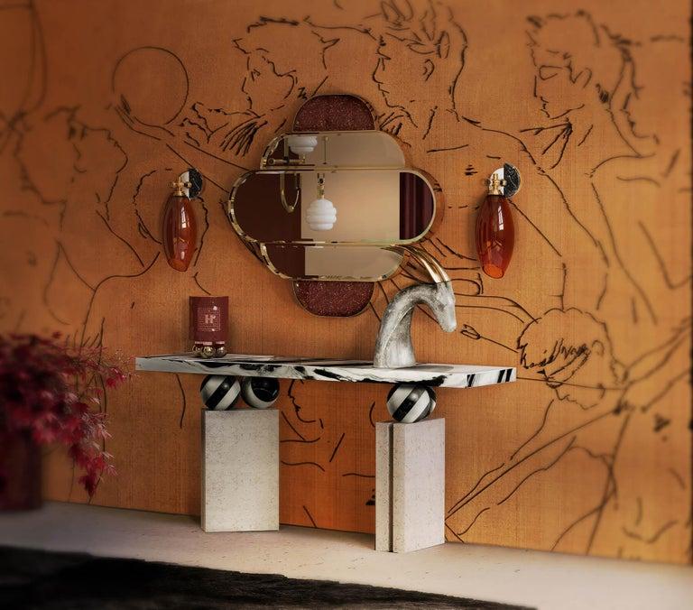 Portuguese Modern Brutalist Console Table Black & White Marble Top, Travertine Stone For Sale
