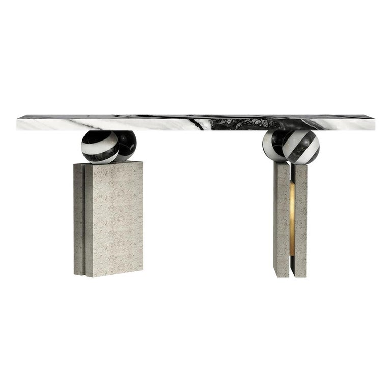 Modern Brutalist Console Table Black & White Marble Top, Travertine Stone For Sale