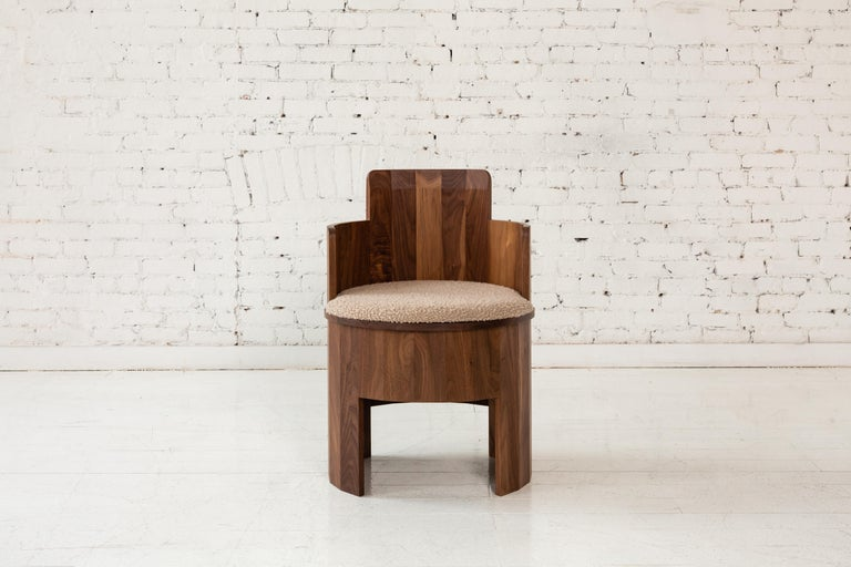 Contemporary Cooperage Dining Chair in Striped Oak by Fort Standard, In Stock For Sale 4