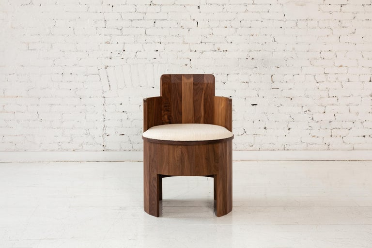 Contemporary Cooperage Dining Chair in Striped Oak by Fort Standard, In Stock For Sale 5