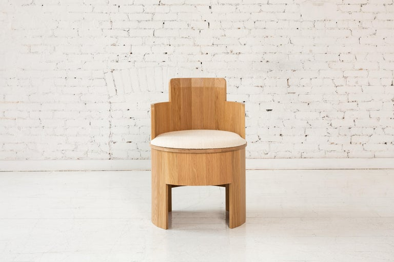Walnut Contemporary Cooperage Dining Chair in Striped Oak by Fort Standard, In Stock For Sale