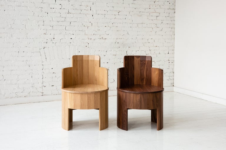 Contemporary Cooperage Dining Chair in Striped Oak by Fort Standard, In Stock In New Condition For Sale In Brooklyn, NY