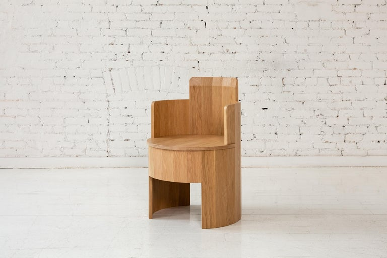 Contemporary Cooperage Dining Chair in Striped Oak by Fort Standard, In Stock For Sale 2