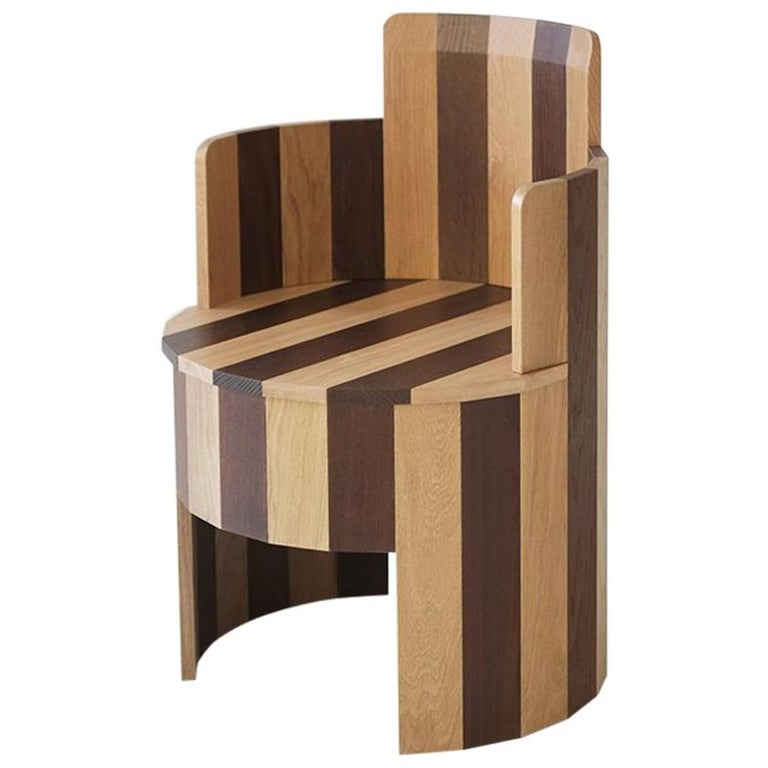 Contemporary Cooperage Dining Chair in Striped Oak by Fort Standard, In Stock For Sale