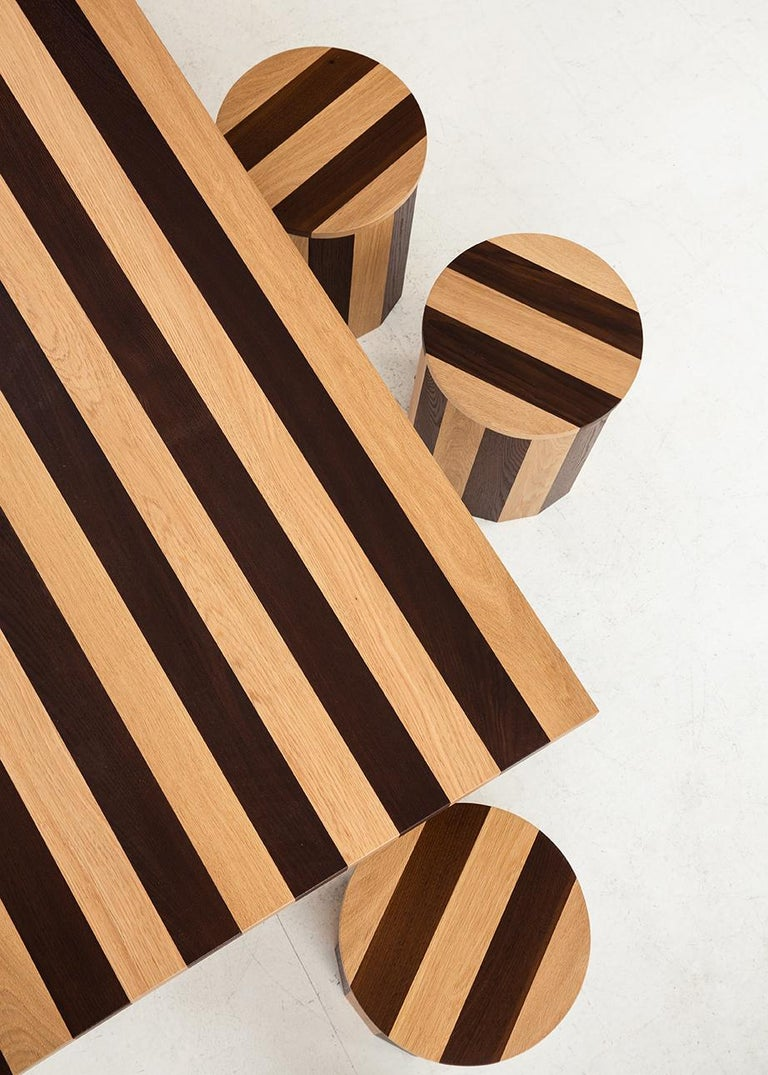 Hand-Crafted Contemporary Cooperage Stool in Striped Oak by Fort Standard, In Stock For Sale