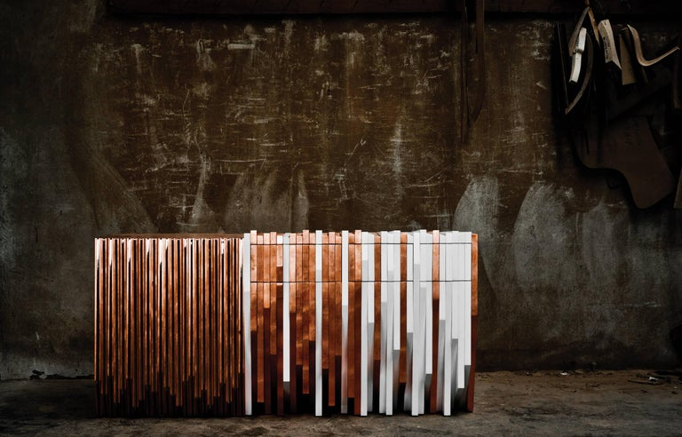 Contemporary Copper Handcrafted White and Metal Console Table by Drama Studio In New Condition For Sale In Porto, PT
