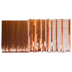 Contemporary Copper Handcrafted White and Metal Console Table by Drama Studio
