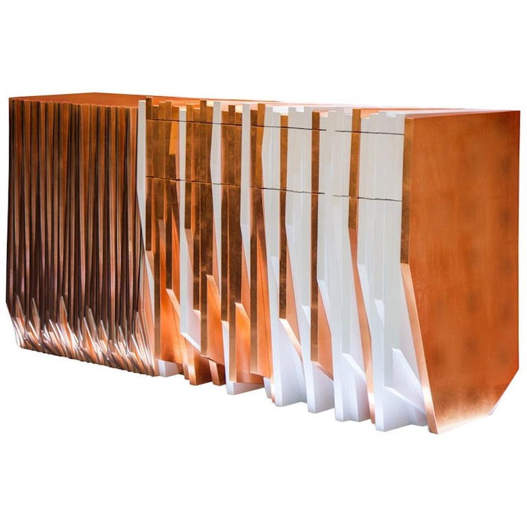 Contemporary Copper Handcrafted White and Metal Console Table by Drama Studio For Sale