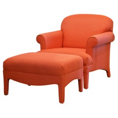Contemporary Coral Red Rolled Arm Lounge Chair and Matching Ottoman