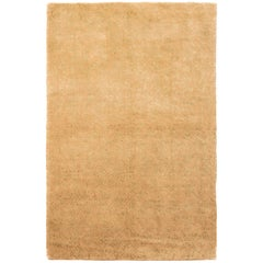 Contemporary Cordoba Beige-Gold and Green Wool-Silk Rug