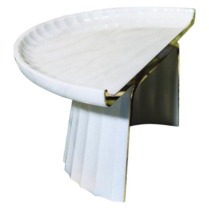 Italian Contemporary Corinthia Coffee Table in Polished Bianco Marble