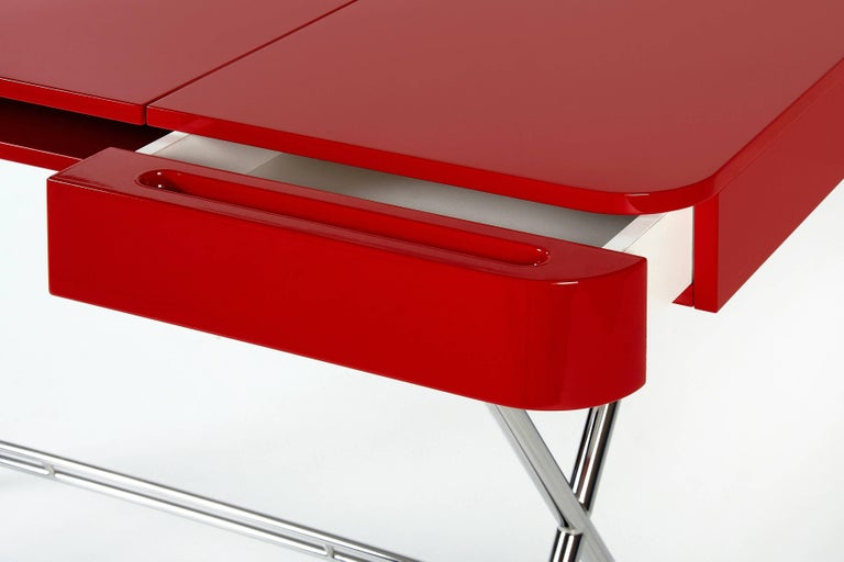 Contemporary Cosimo Desk by Marco Zanuso Jr. Red Glossy Lacquered Top For Sale 4