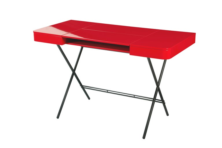 Modern Contemporary Cosimo Desk by Marco Zanuso Jr. Red Glossy Lacquered Top For Sale