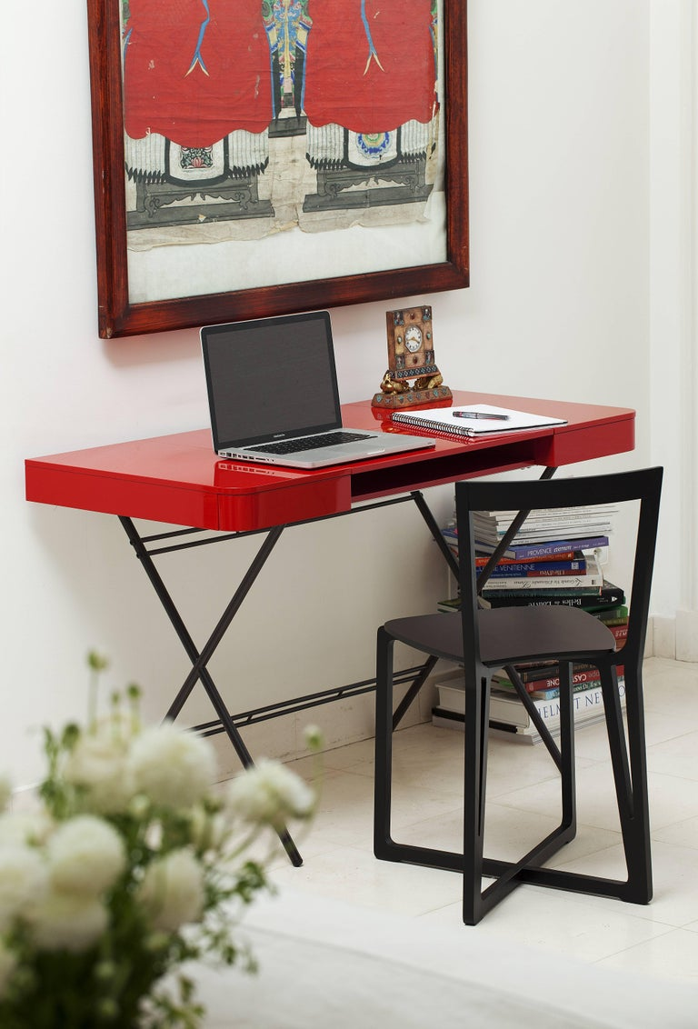 Metal Contemporary Cosimo Desk by Marco Zanuso Jr. Red Glossy Lacquered Top For Sale