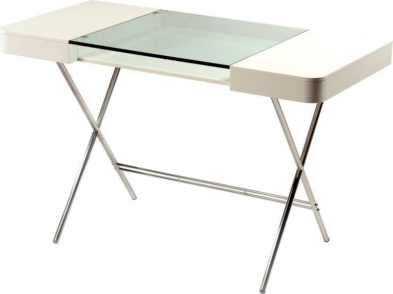 Contemporary Cosimo Desk by Marco Zanuso Jr. White Mat Lacquered and Glass Top For Sale 10