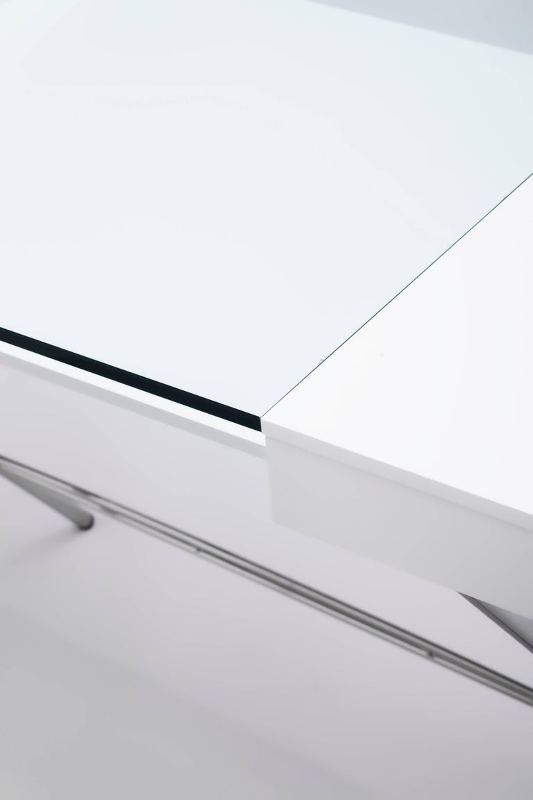 Contemporary Cosimo Desk by Marco Zanuso Jr. White Mat Lacquered and Glass Top For Sale 2