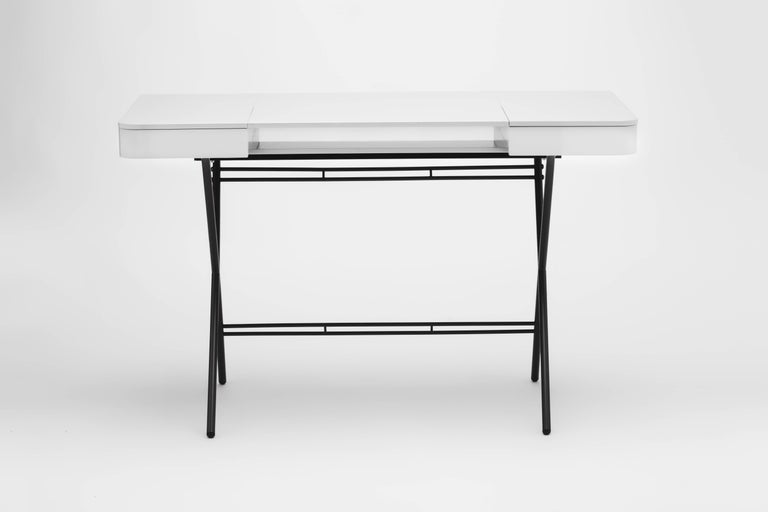 Contemporary Cosimo Desk by Marco Zanuso Jr. with Grey Glossy Lacquered Top For Sale 4