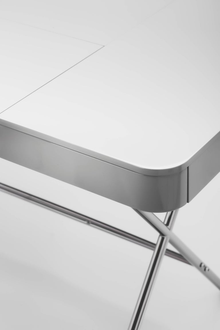 Metal Contemporary Cosimo Desk by Marco Zanuso Jr. with Grey Glossy Lacquered Top For Sale