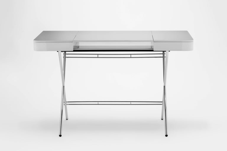 Contemporary Cosimo Desk by Marco Zanuso Jr. with Grey Glossy Lacquered Top For Sale 1