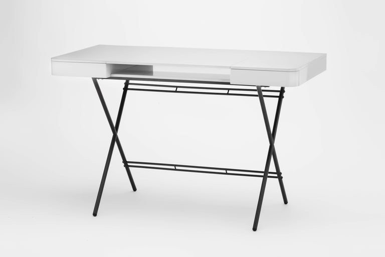 Contemporary Cosimo Desk by Marco Zanuso Jr. with Grey Glossy Lacquered Top For Sale 2