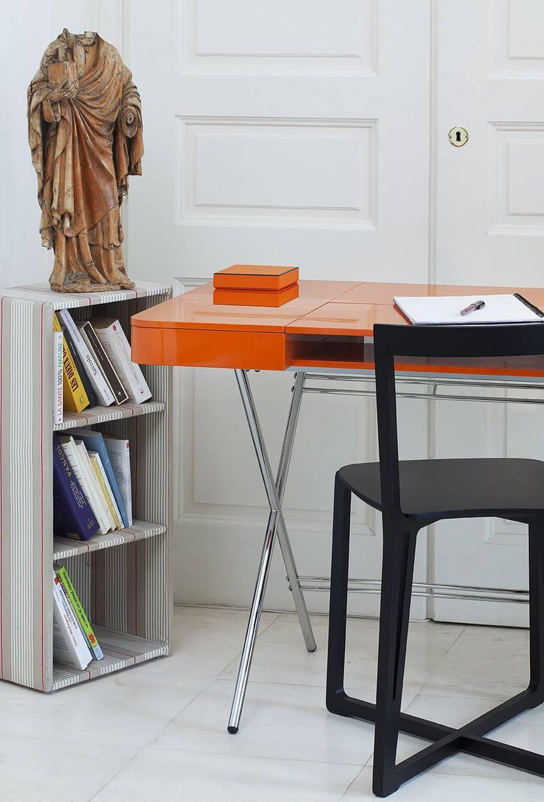 Contemporary Cosimo Desk by Marco Zanuso Jr. with Orange Glossy Lacquered Top For Sale 8