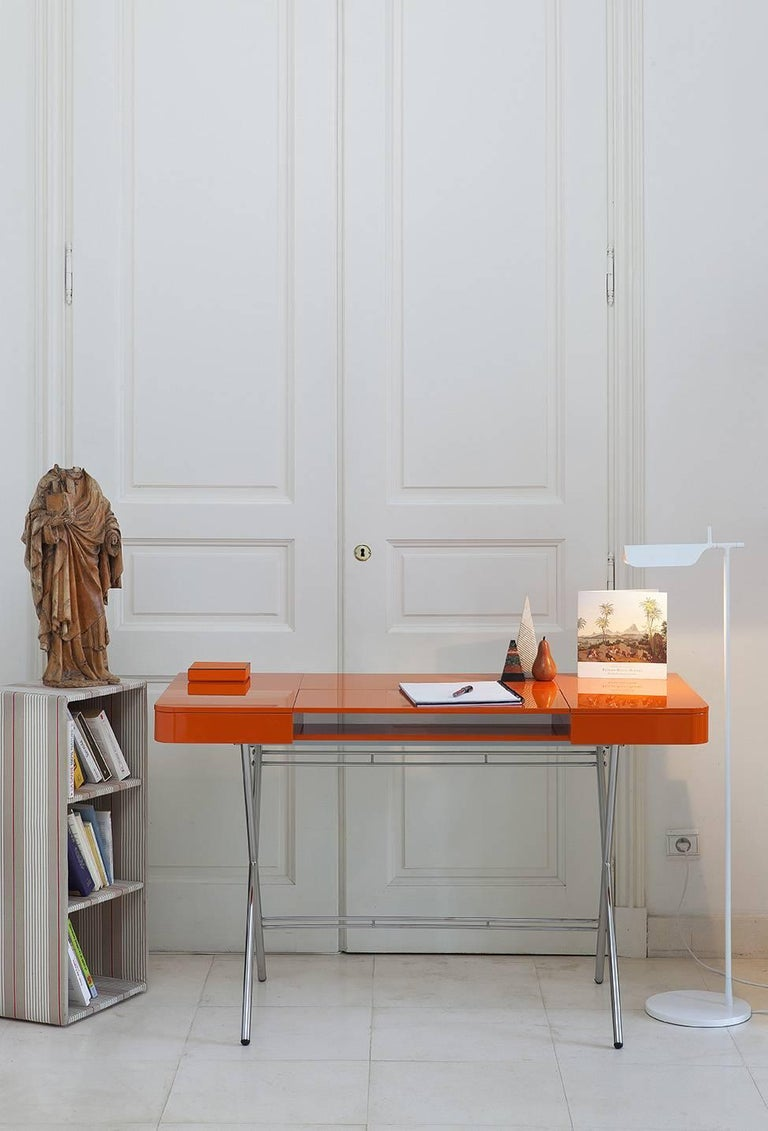 Contemporary Cosimo Desk by Marco Zanuso Jr. with Orange Glossy Lacquered Top For Sale 9