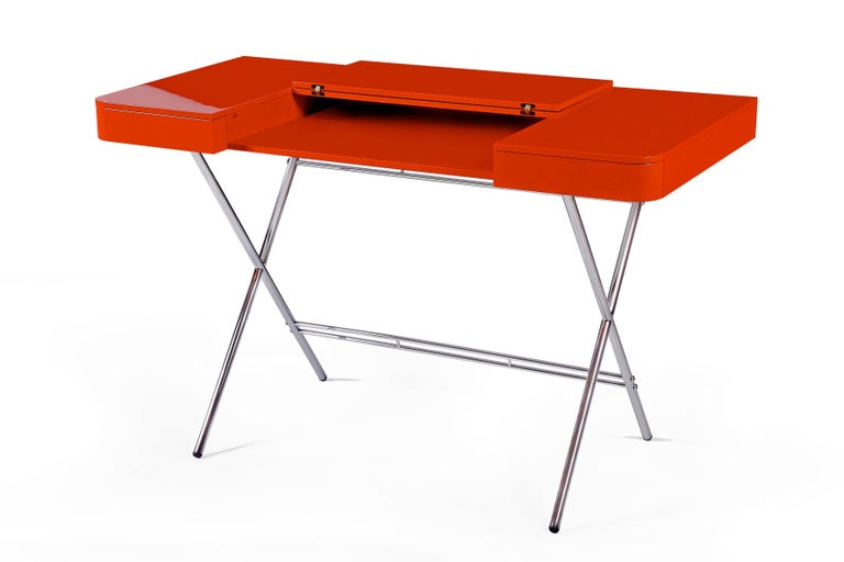 Modern Contemporary Cosimo Desk by Marco Zanuso Jr. with Orange Glossy Lacquered Top For Sale