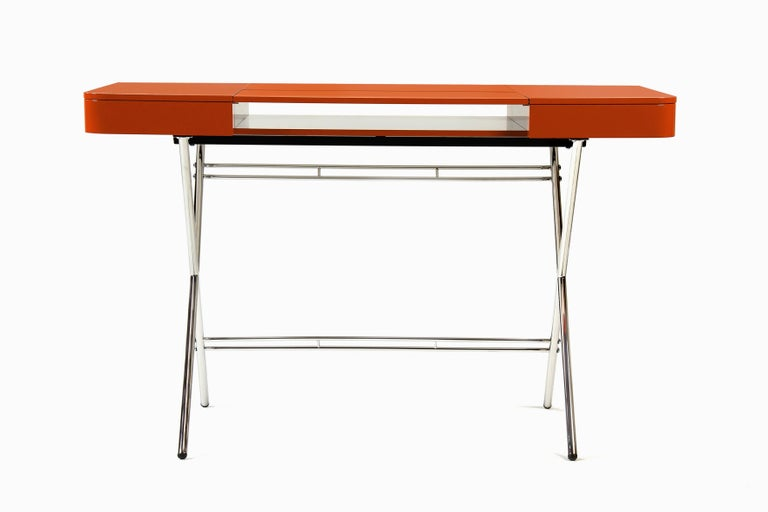 French Contemporary Cosimo Desk by Marco Zanuso Jr. with Orange Glossy Lacquered Top For Sale