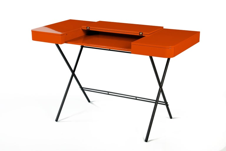Metal Contemporary Cosimo Desk by Marco Zanuso Jr. with Orange Glossy Lacquered Top For Sale