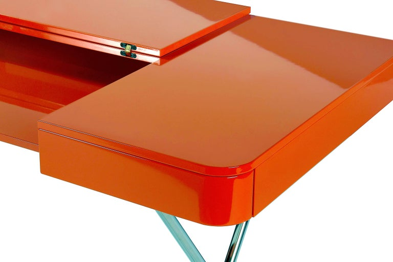 Contemporary Cosimo Desk by Marco Zanuso Jr. with Orange Glossy Lacquered Top For Sale 2