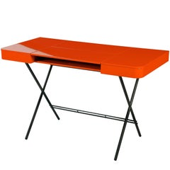 Contemporary Cosimo Desk by Marco Zanuso Jr. with Orange Glossy Lacquered Top