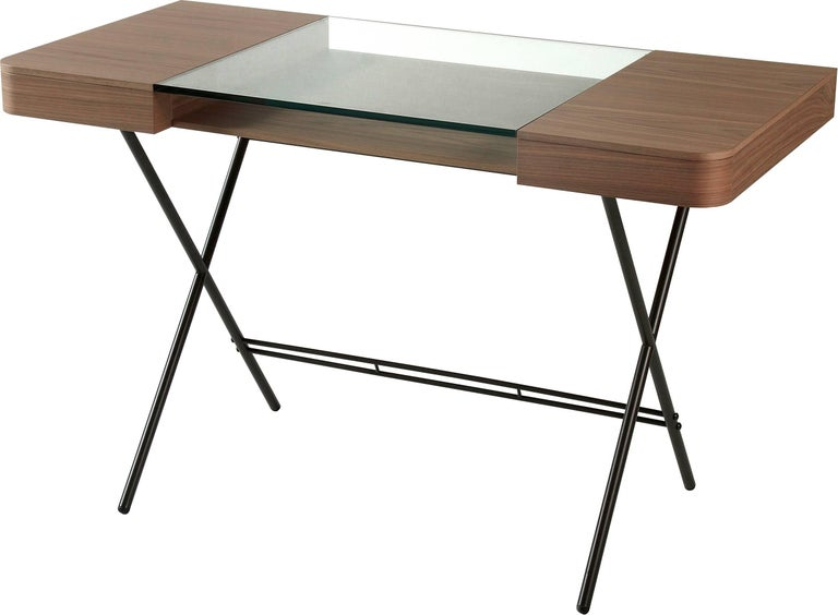 Contemporary Cosimo Desk by Marco Zanuso Jr. with Walnut Veneer and Glass Top For Sale 3