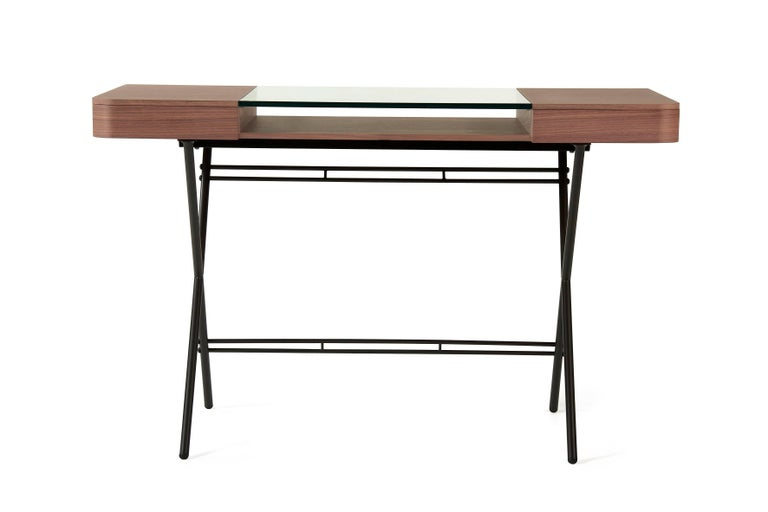 Modern Contemporary Cosimo Desk by Marco Zanuso Jr. with Walnut Veneer and Glass Top For Sale