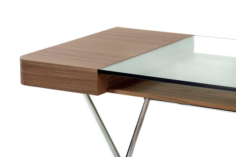 French Contemporary Cosimo Desk by Marco Zanuso Jr. with Walnut Veneer and Glass Top For Sale