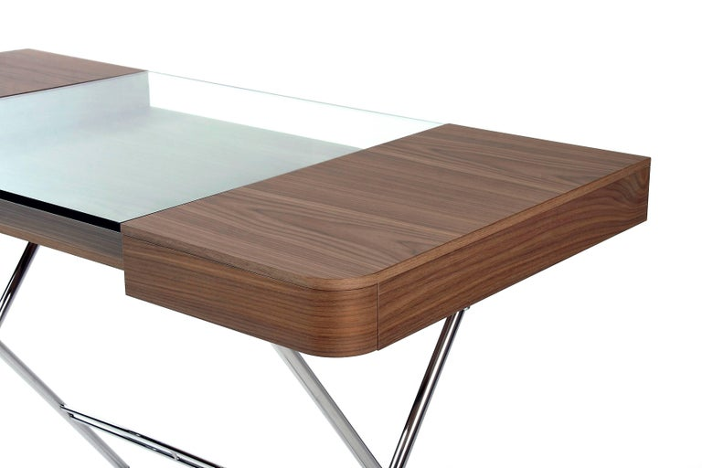Lacquered Contemporary Cosimo Desk by Marco Zanuso Jr. with Walnut Veneer and Glass Top For Sale