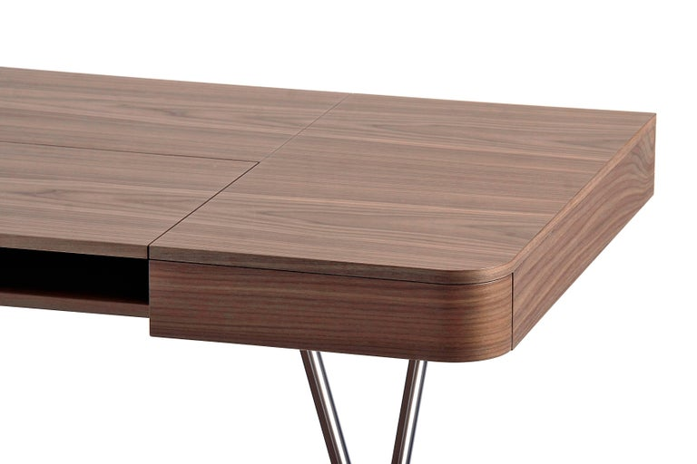 Contemporary Cosimo Desk by Marco Zanuso Jr. with Walnut Veneer Top For Sale 3