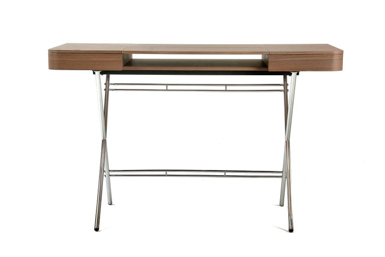 Modern Contemporary Cosimo Desk by Marco Zanuso Jr. with Walnut Veneer Top For Sale