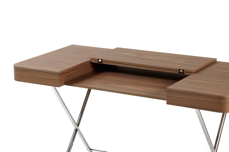 French Contemporary Cosimo Desk by Marco Zanuso Jr. with Walnut Veneer Top For Sale