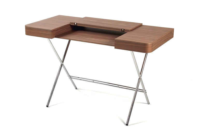 Lacquered Contemporary Cosimo Desk by Marco Zanuso Jr. with Walnut Veneer Top For Sale