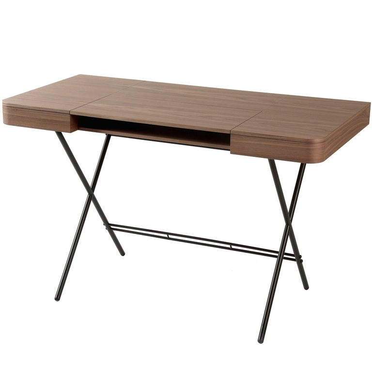 Contemporary Cosimo Desk by Marco Zanuso Jr. with Walnut Veneer Top For Sale