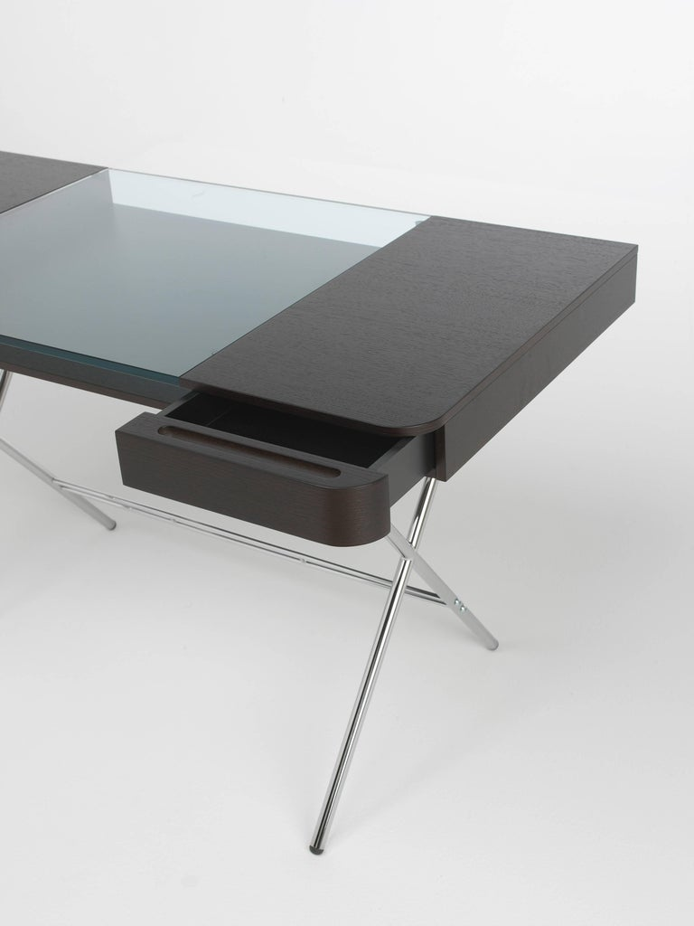 Modern Contemporary Cosimo Desk by Marco Zanuso Jr. With Wenge Stained Oak Veneer Top For Sale