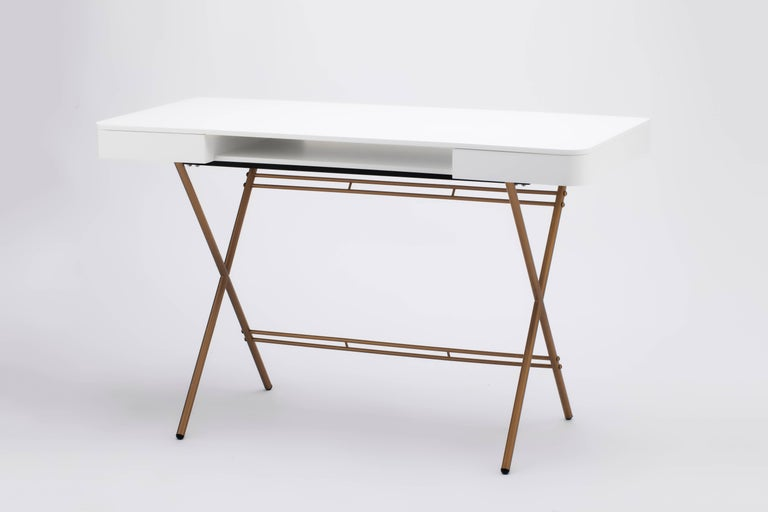 Contemporary Cosimo Desk by Marco Zanuso Jr. with White Mat Lacquered Top For Sale 6