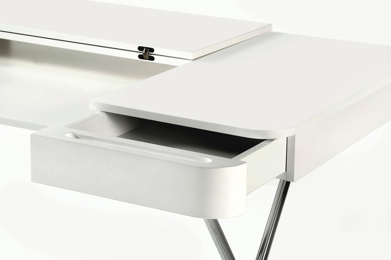 Modern Contemporary Cosimo Desk by Marco Zanuso Jr. with White Mat Lacquered Top For Sale
