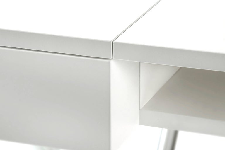 French Contemporary Cosimo Desk by Marco Zanuso Jr. with White Mat Lacquered Top For Sale