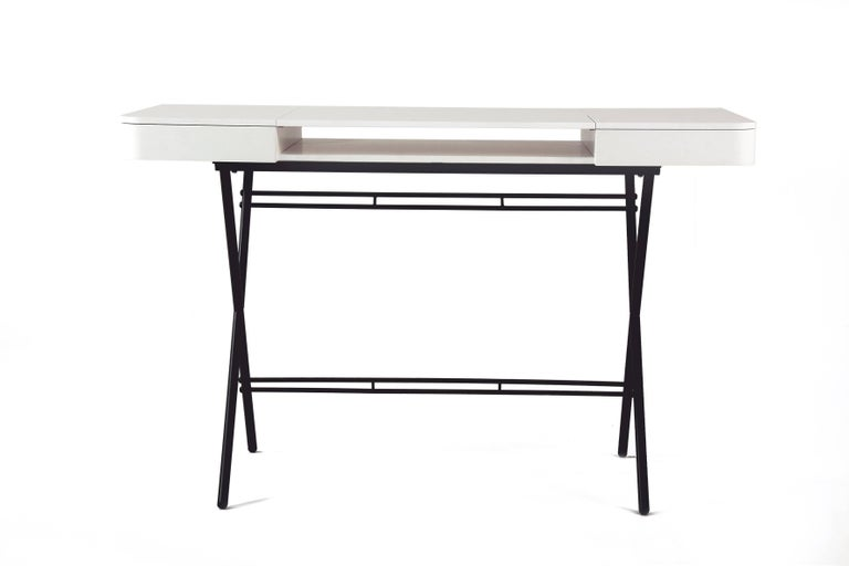Metal Contemporary Cosimo Desk by Marco Zanuso Jr. with White Mat Lacquered Top For Sale