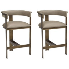 Contemporary Counter Stool, Bronze Frame/Taupe Leather
