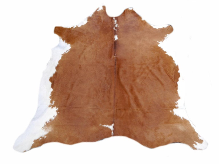 Contemporary Cowhide Rug Light Brown Caramel Beige For Sale 1